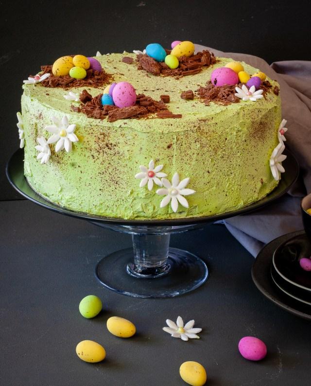 Speckled egg pistachio cake