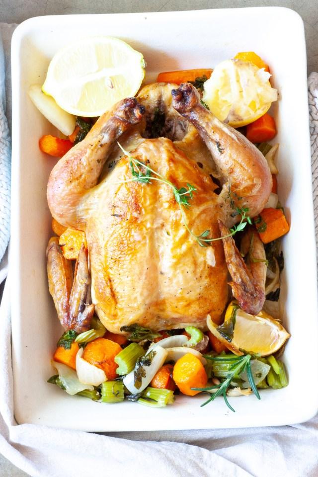 Simple lemon and garlic roast chicken.