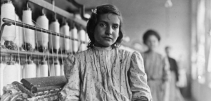 Hattie Hunter, spinner in the Lancaster Cotton Mills. Gets 50 cents a day, December 1908