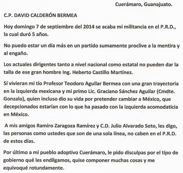 Carta enviada por David Calderón Bermea