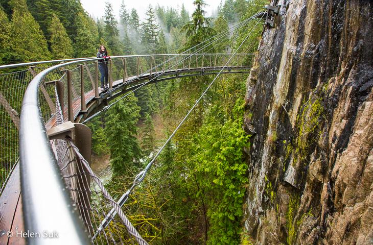 cliffwalk at capilano suspension bridge park in vancouver british columbia