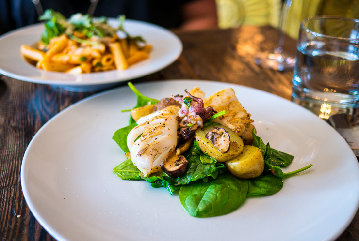 main dishes at east and main bistro