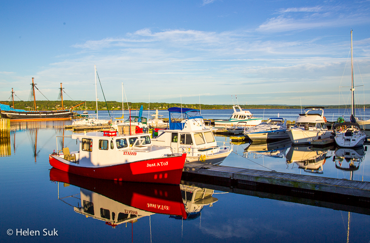 boats docked on the still waters of pictou waterfront
