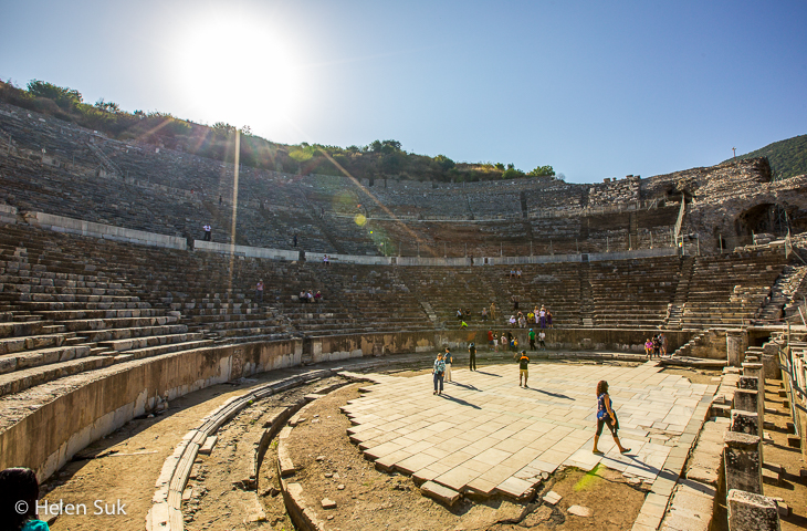 view from the bottom of the great theater in ephesus turkey