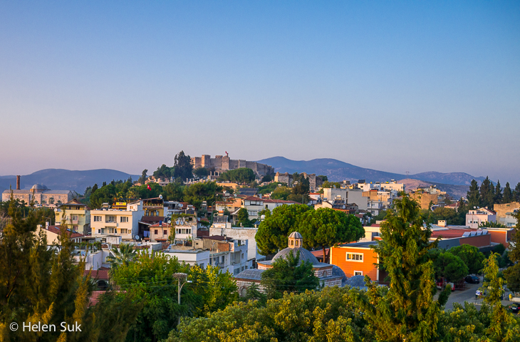view of selcuk turkey with hills and ayasuluk castle in the distance