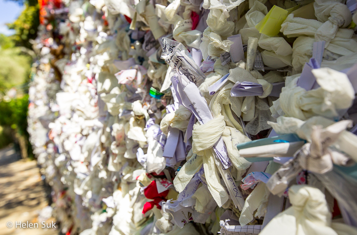 tissue tied to the wishing wall at the house of the virgin mary in selcuk