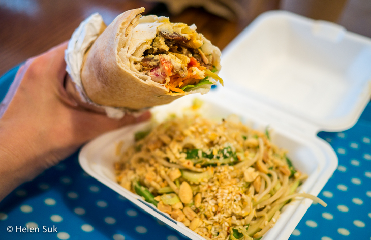 shawarma and peanut noodles from the yum club in picton