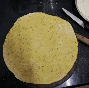 Knead the flour to a hard dough and roll out into flat rotis
