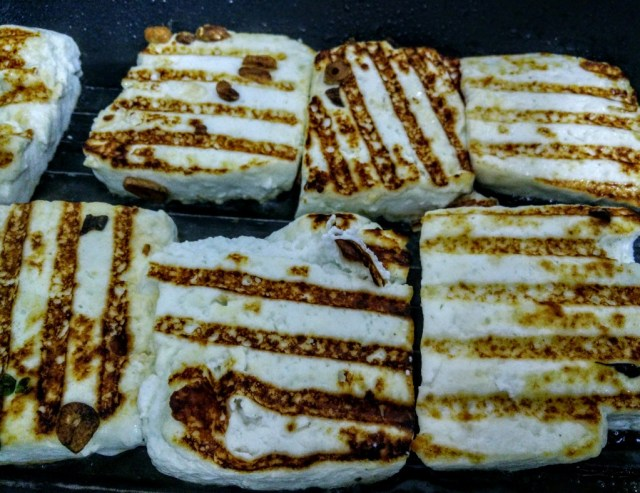 Grilled to perfection: the charred paneer can be had with just some salt and pepper too