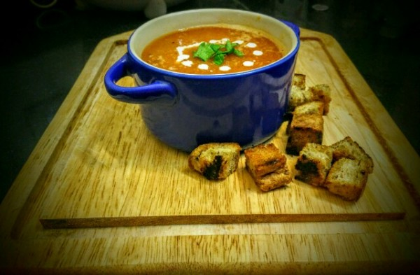 Enjoy the warmth of this roasted tomato and celery soup