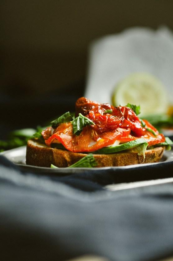 Roasted Tomato Caprese with Avocado