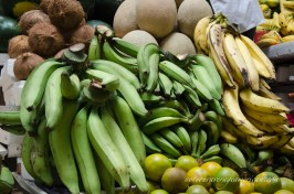 Platanos (plantains) in both verde (unripe) and maduro (ripe). It's the same fruit but each is used very differently in local cooking.