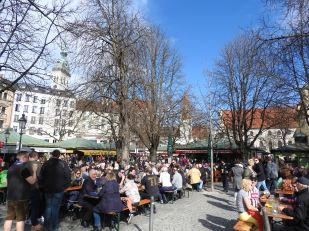 Beer garden in Munich on a typical Saturday morning at 11AM - doesn't take them long to enjoy the weekend!