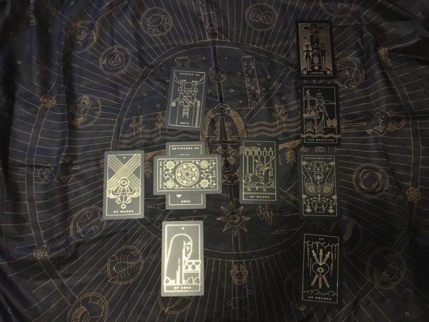 Golden Tarot celtic cross spread on silk cloth