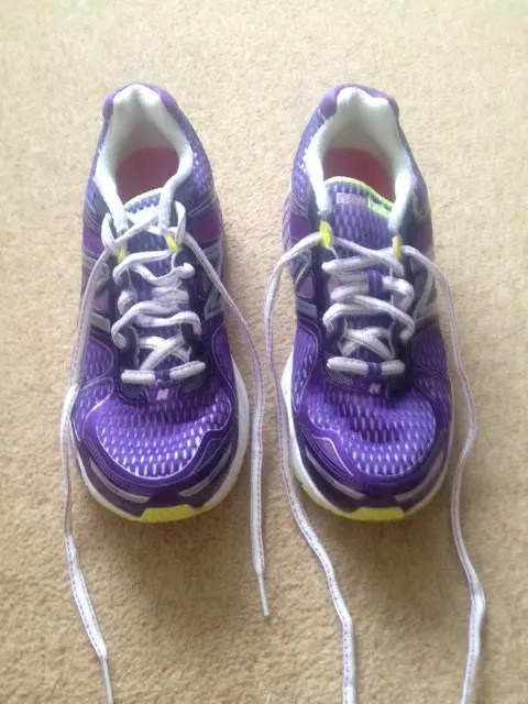 Pretty purple trainers - but check out the different laces.