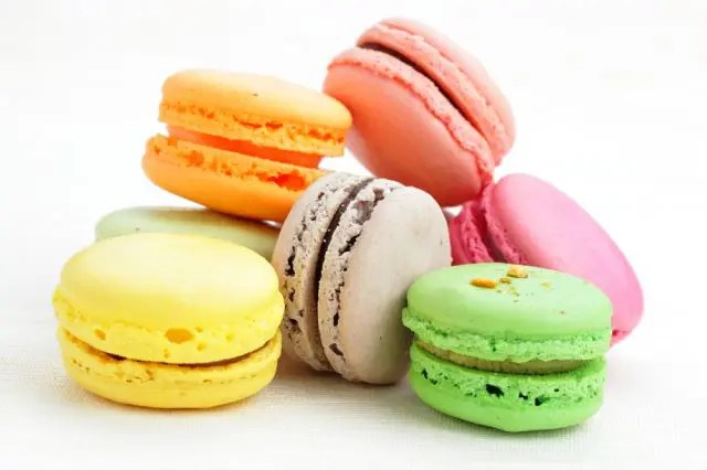 Pile of bright coloured macaroons