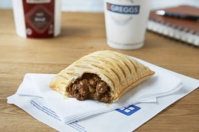Greggs Vegan Steak Bake with a bite taken out