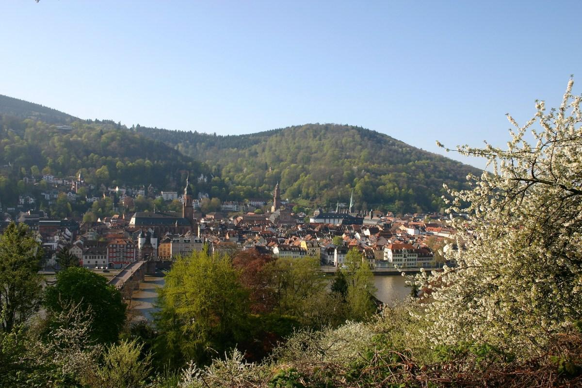 Een klein oud Duits stadje omringt door natuur