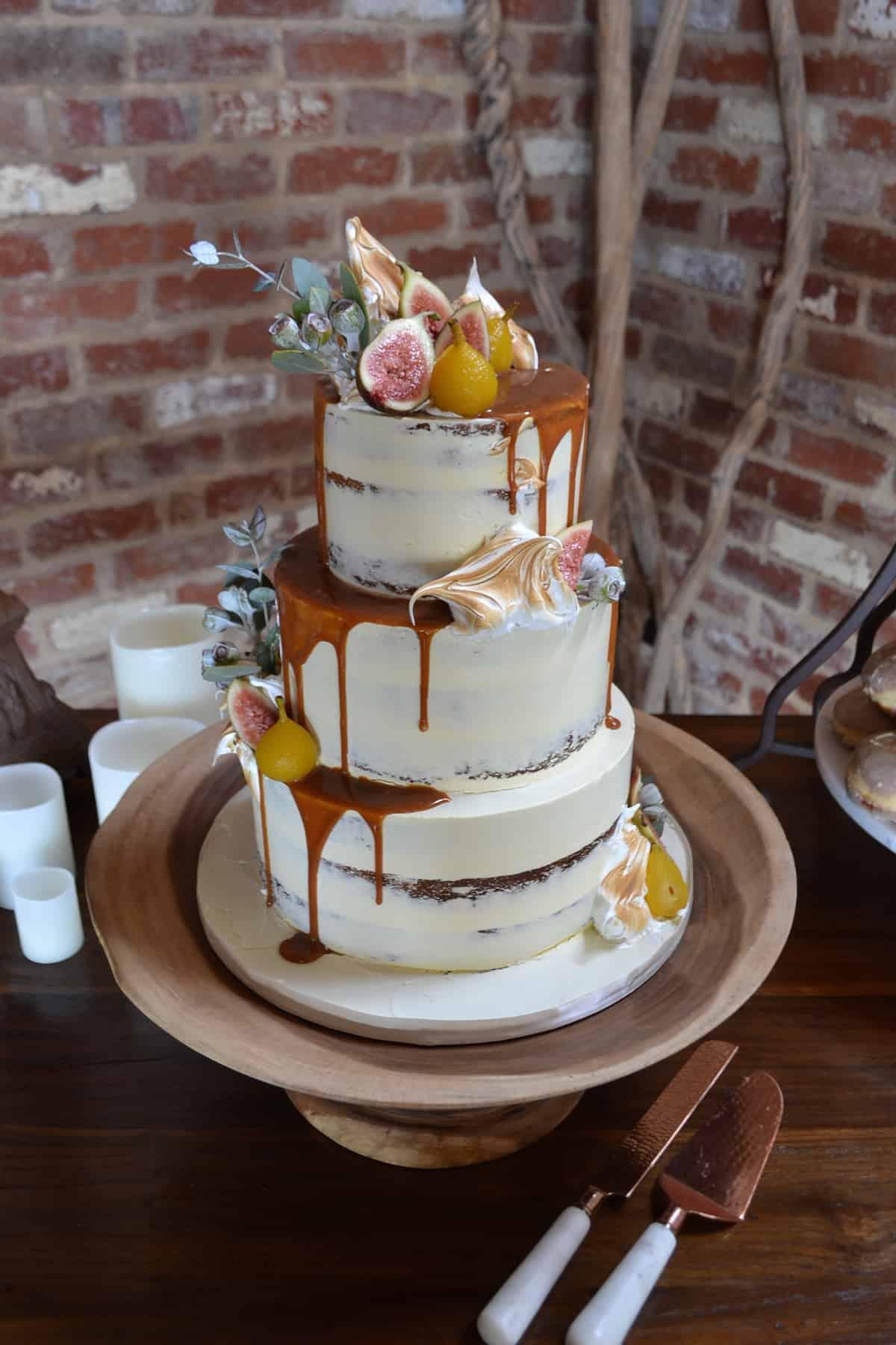 Modern Rustic Wedding Cake With Caramel Drip