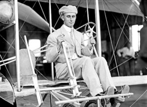Harry Atwood in Wright Brothers airplane