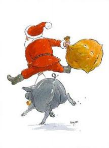 Père Noël chevauchant un cochon