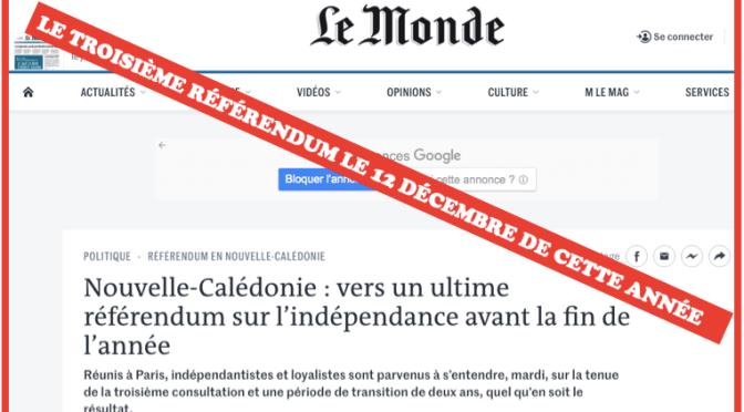 SELON «LE MONDE», RÉFÉRENDUM POSSIBLE LE 12 DÉCEMBRE 2021