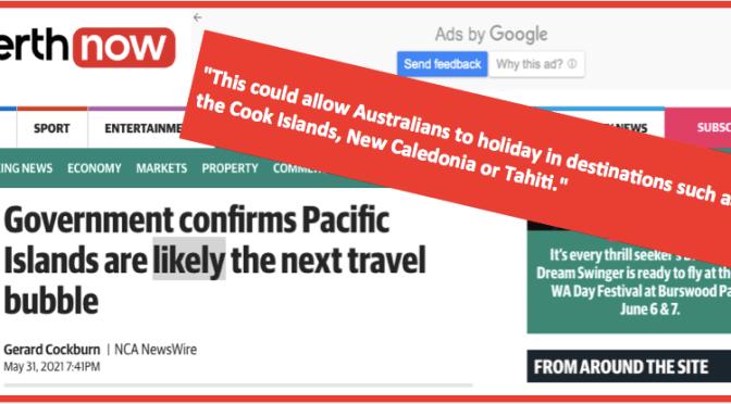 LA CALÉDONIE POURRAIT ÊTRE INCLUSE DANS UNE «BULLE» DE VOYAGE AVEC L'AUSTRALIE ET LA NOUVELLE-ZÉLANDE