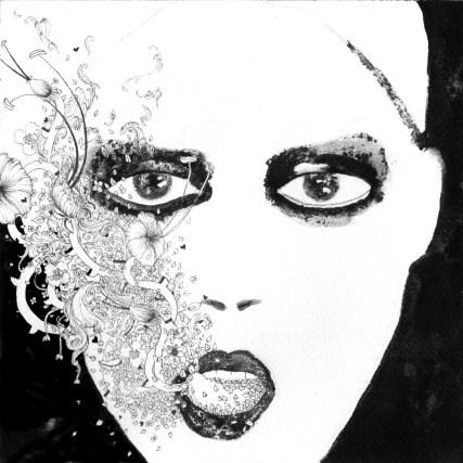 Ink on acid-free cotton paper 300 gr. By Noumeda . https://www.artfinder.com/product/portrait22-20x20-cm/