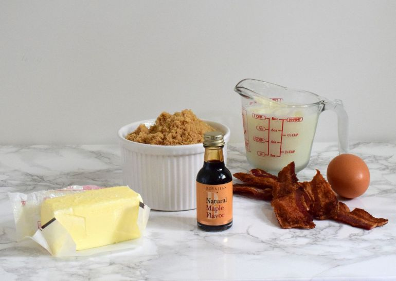 ingredients for maple bacon muffins