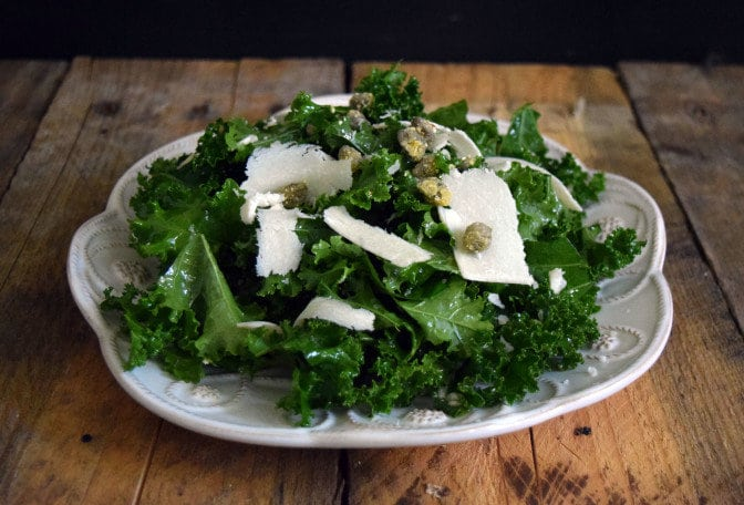 Kale Salad with Fried Capers and Parmesan Cheese is the perfect side dish for your dinner, especially when the kale comes right from your backyard garden.