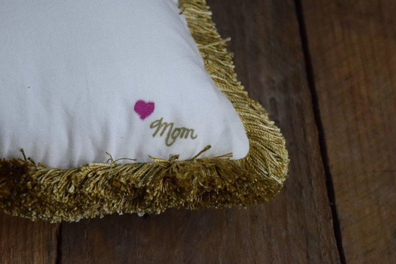 DIY a block monogram initial pillow with lots of french knots Perfect addition to your bedroom| home decor