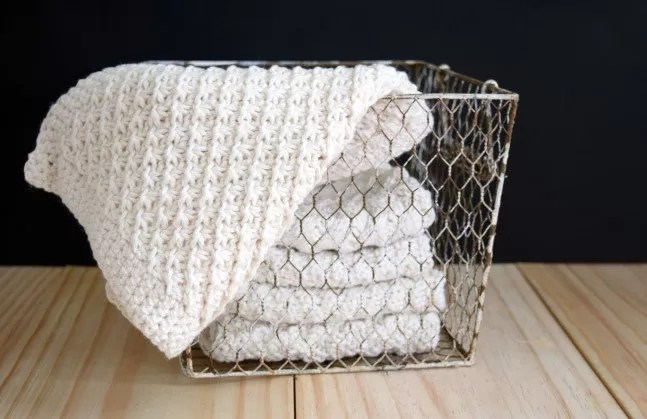 Daisy stitch washcloth in basket