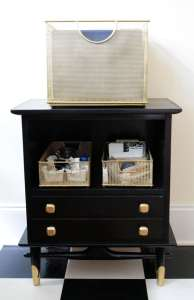 A roadside rescued and neglected nightstand is upcycled to create perfect office storage and organization | DIY