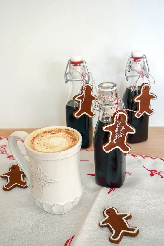 Love this idea for coffee and steamed milk! This gingerbread syrup is not only perfect for my use, but will also make a great gift with a mug and some coffee beans.