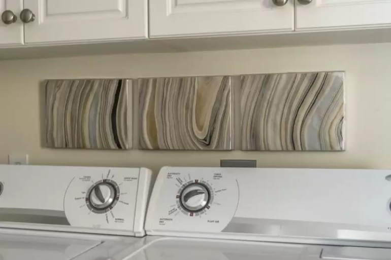 Making 3- panel art from one sheet of marbled paper. DIY decorating in the laundry room.