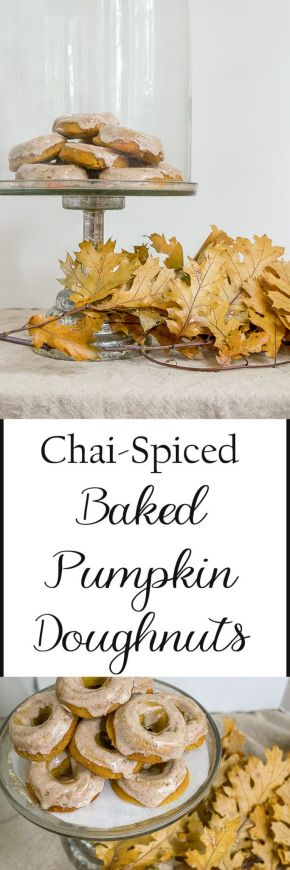 Recipe for chai-spiced baked pumpkin doughnuts with chai glaze. The perfect breakfast, dessert or snack treat to get you in fall mode.