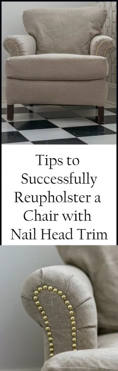 Week 4 of One Room Challenge and Tips to Successfully Reupholster a Chair and add decorative nail head trim. The perfect diy to update your home decor.