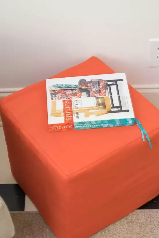 Week 5 of the One Room Challenge and I'm showing off the beautiful coral colored painted chest and coral ottoman in my office.