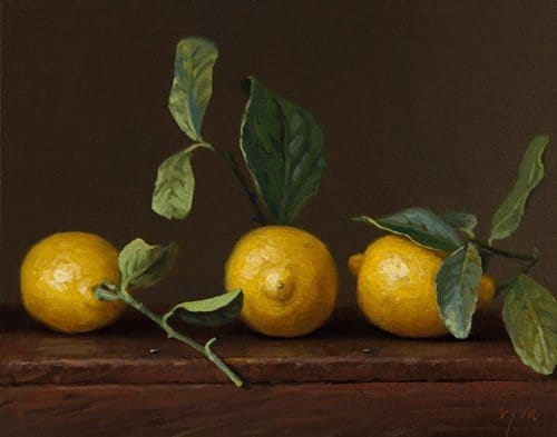 Abbey Ryan - Three Lemons with Leaves