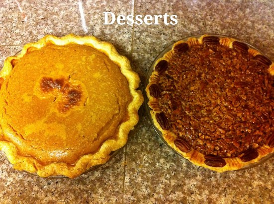homemade pumpkin and pecan pie for thanksgiving