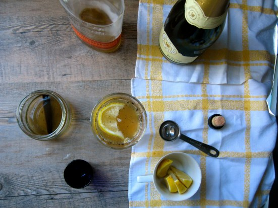 vanilla champagne bourbon cocktail