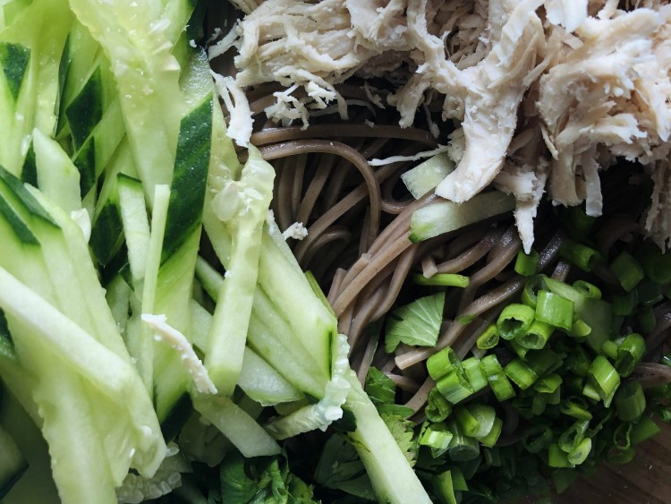 Chicken soba noodle salad in the making