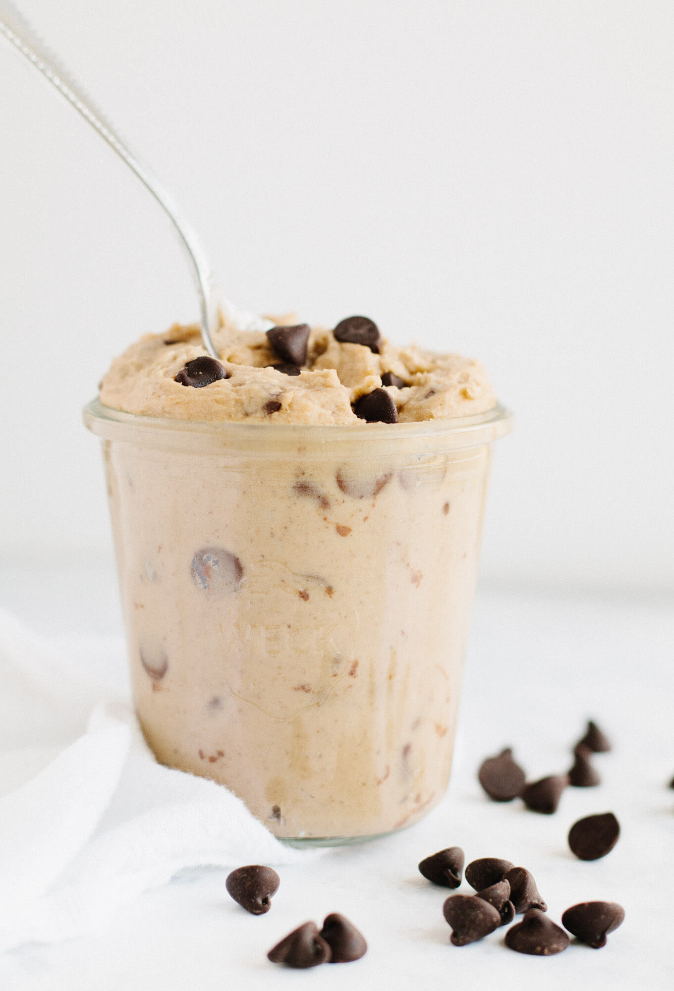 Vegan, no-bake, cookie dough that can be enjoyed straight from the mixing bowl or frozen for when a sweet craving hits. Chickpeas, cashew butter, and dates create a cookie dough with a protein and fiber boost.