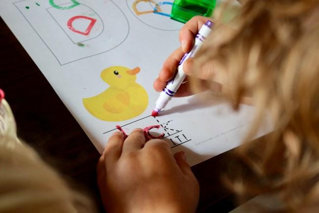 Simple learning. Preschool homeschool.
