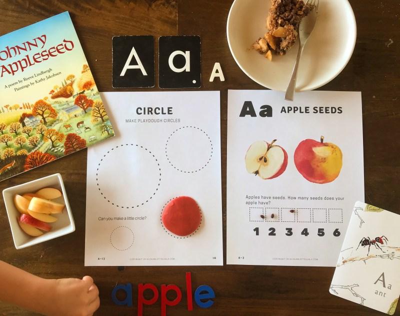 letter A apple preschool