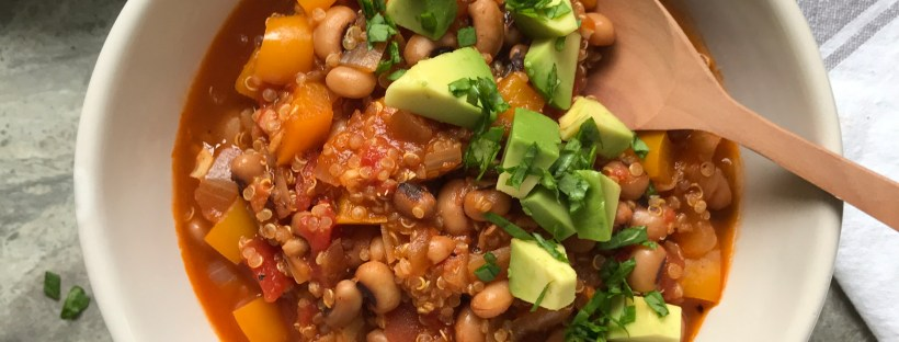 Lightly Spiced Black Eyed Bean and Quinoa Stew