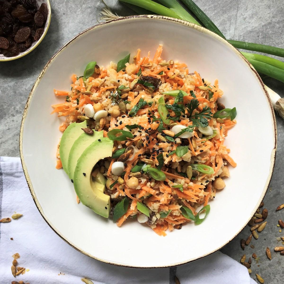 Chickpea Coronation Style (Cauli-)Rice