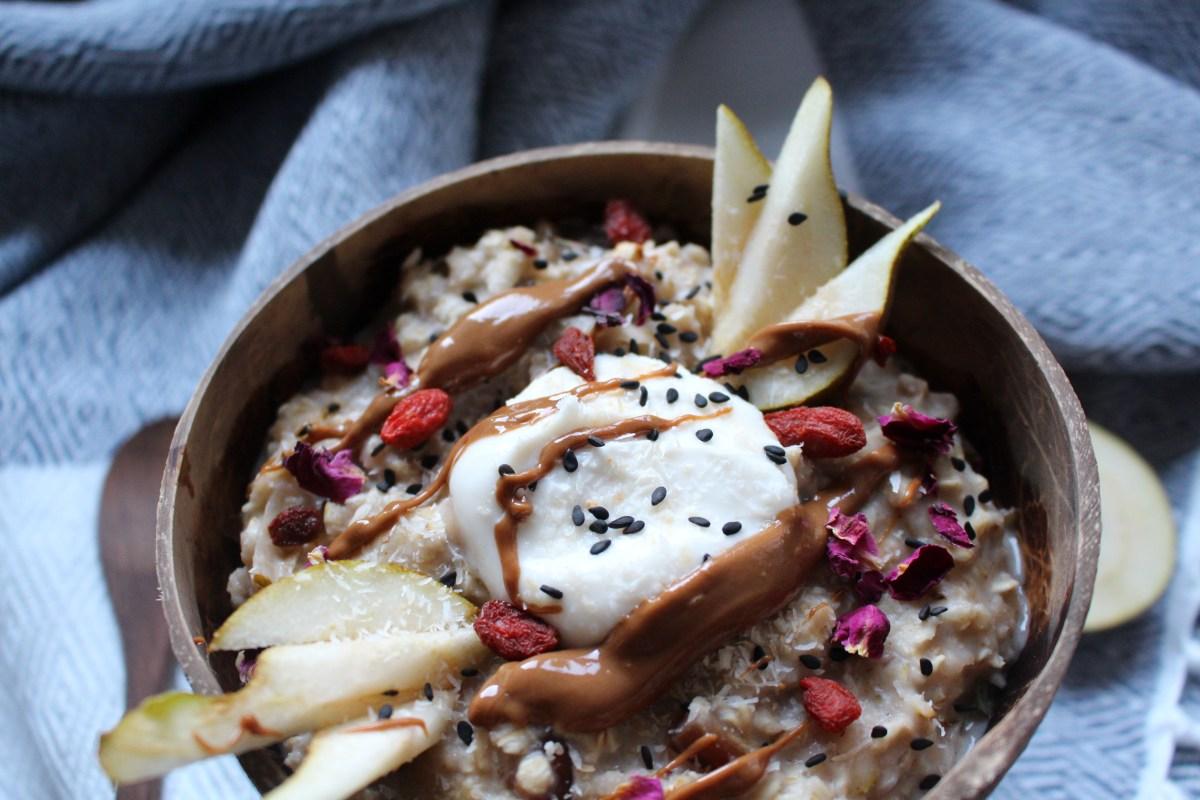 Pear Ginger and Date Porridge