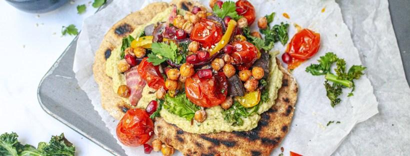 Crunchy Chickpea, Kale Crisp and Burst Tomato Flatbreads