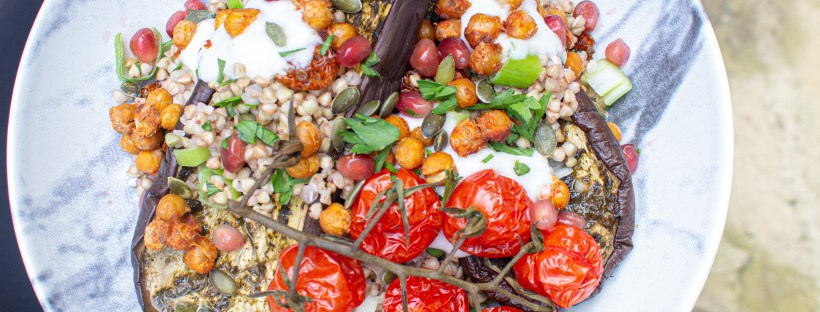 Zhoug Roasted Aubergines with Crunchy Chickpeas and a Goldenberry Pumpkin Seed Buckwheat Salad